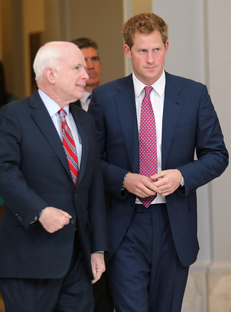 Prince Harry was welcomed by John McCain in Washington DC on Thursday.