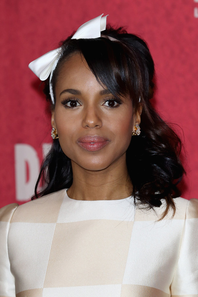 Looks like Kerry took inspiration from the Spring 2013 Louis Vuitton runway with this ensemble and matching hair bow at the Django: Unchained Berlin photocall.
