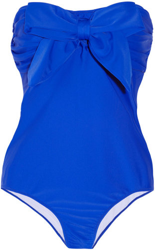 Miu Miu Bow-embellished bandeau swimsuit