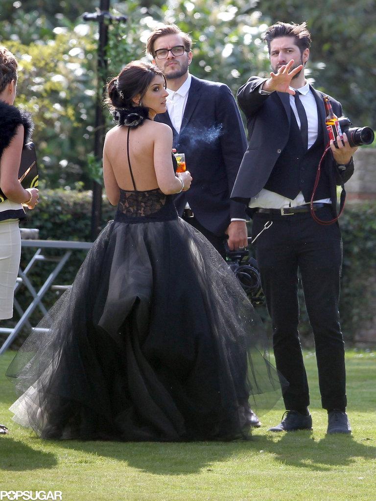 Shenae Grimes got married in a black Vera Wang wedding gown outside of London.