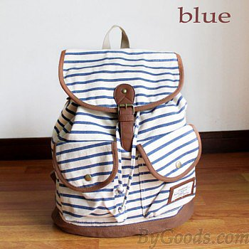Fresh Striped Two-pocket Canvas Leisure Backpacks