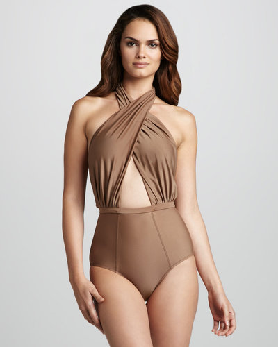 6 Shoreroad Cabana Twist-Halter One-Piece Swimsuit