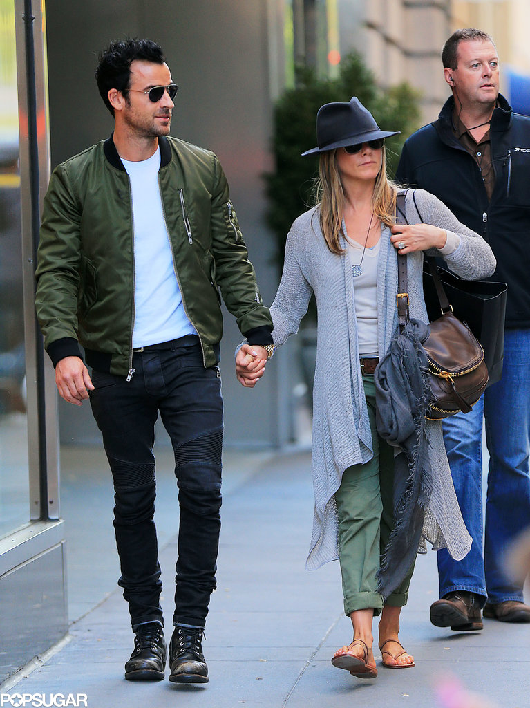 Jennifer Aniston went shopping with Justin Theroux.