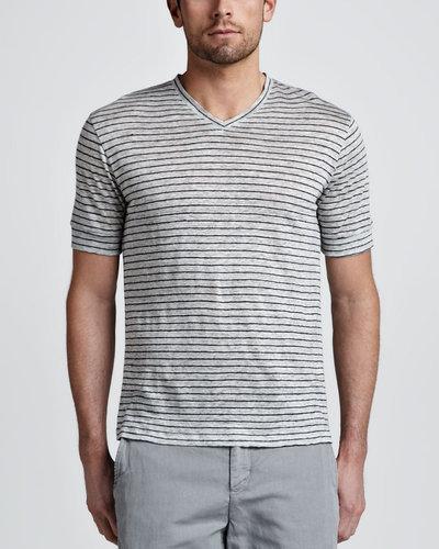 Vince Linen Striped V-Neck Tee, Gray