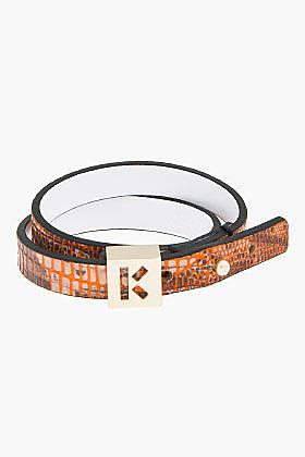 KENZO Orange snakeskin double-wrap Bracelet