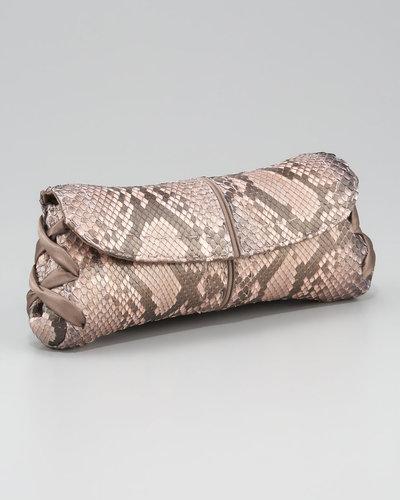 VBH Ballerina Pickstitched Clutch Bag, Python