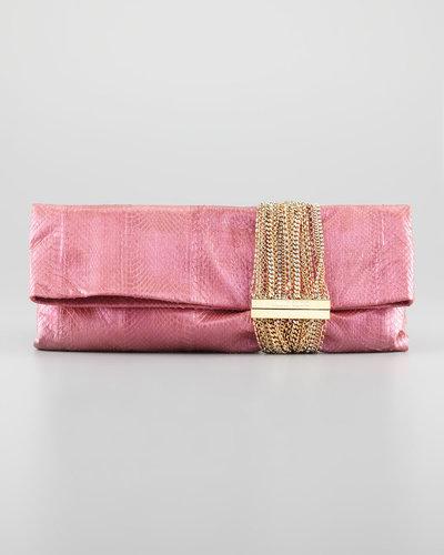 Jimmy Choo Chandra Chain Snakeskin Clutch Bag, Pink/Purple