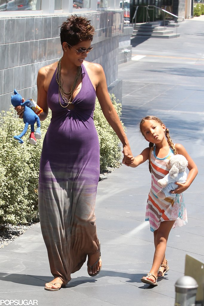 Pregnant Halle Berry and her daughter Nahla Aubry went to Mother's Day lunch on Sunday in LA and were joined by Olivier Martinez.