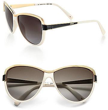Fendi Modified Metal Accented Round Sunglasses
