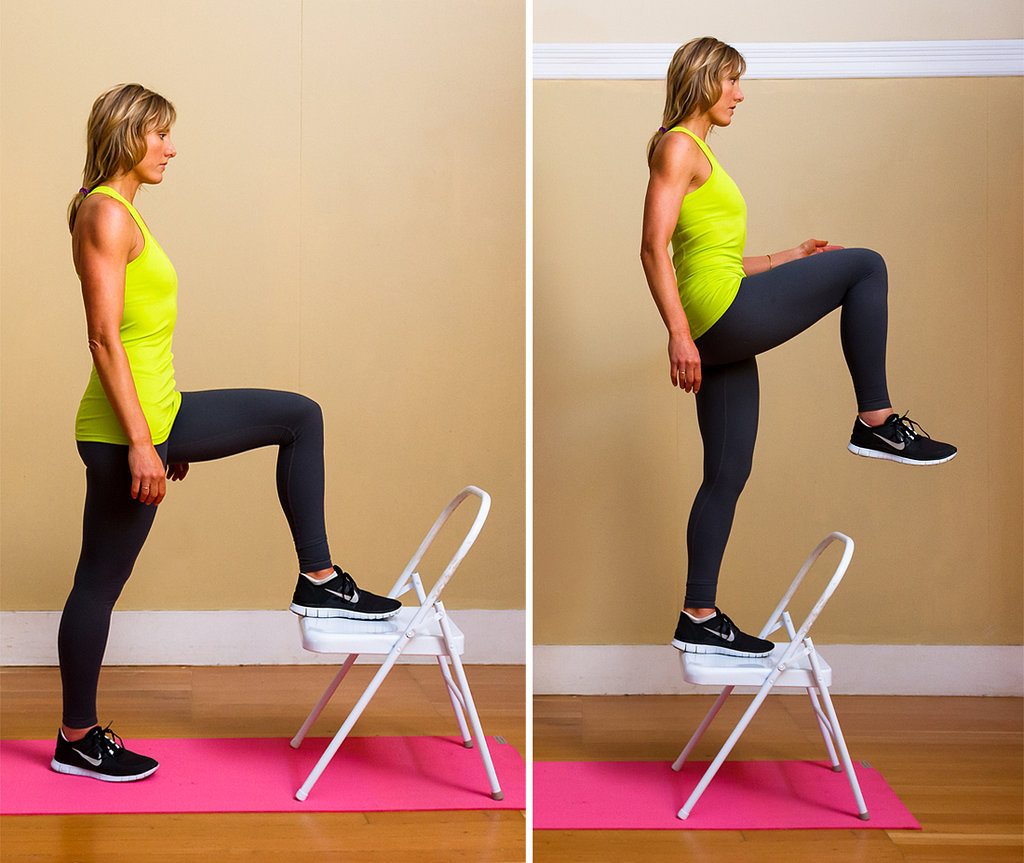 5 chair step ups burn calories blast fat and save for Chair workouts