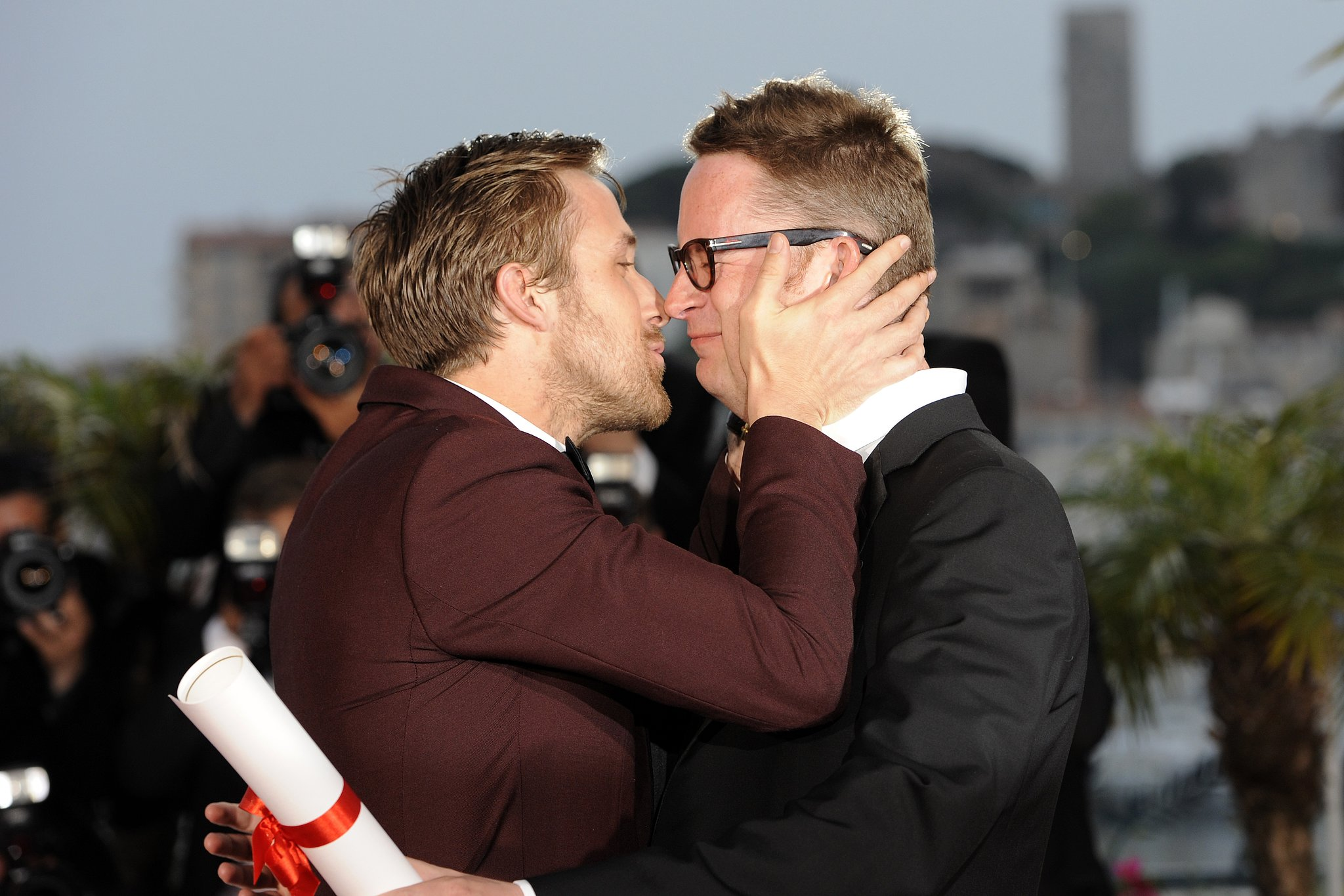 Ryan Gosling gave director Nicolas Winding Refn a congratulatory kiss after he was awarded won the award for best director the 64th Cannes Film Festival in 2011.