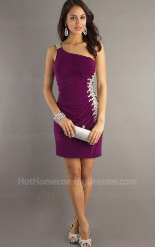 Fashion Plum Short One Shoulder Homecoming Dress on sale 2013