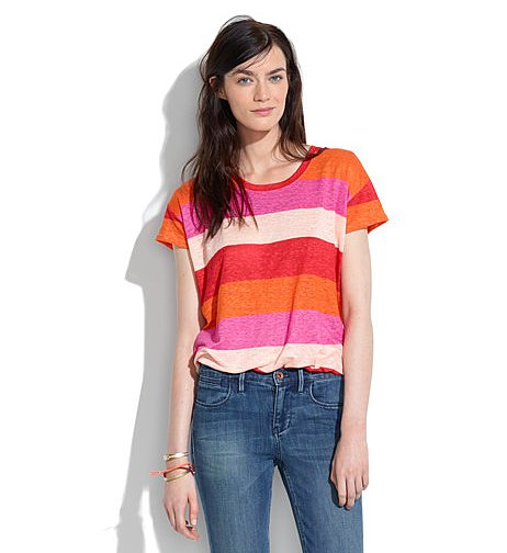 Throw this Madewell Linen Horizon Tee ($45) on under a pair of denim overalls for a hip, totally on-trend Summer look.