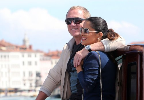 Salma Hayek cozied up to her husband, Francois-Henri Pinault, while the two made their way to the Venice Film Festival by boat in September 2012.