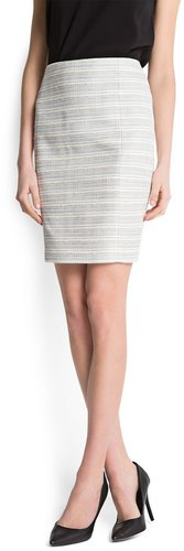 Striped bouclé skirt