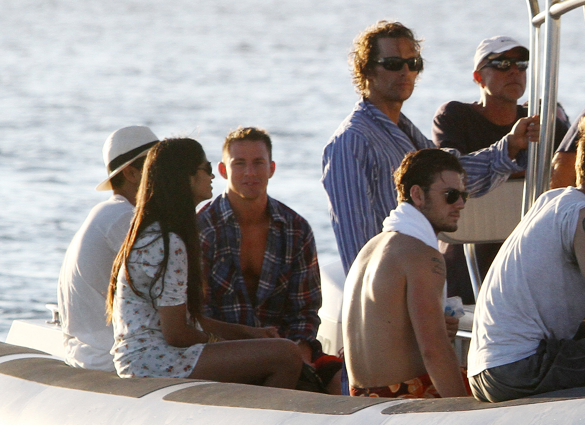 Matthew McConaughey and Channing Tatum got a lift back to the beach after a long day of filming Magic Mike at sea in October 2011.