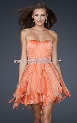 Sweetheart Pleating Orange Bust Beading Waist Short Dress for Prom 2013