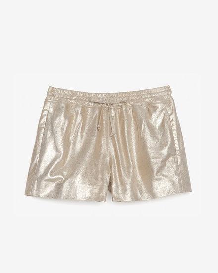 Joseph Metallic Leather Drawstring Shorts