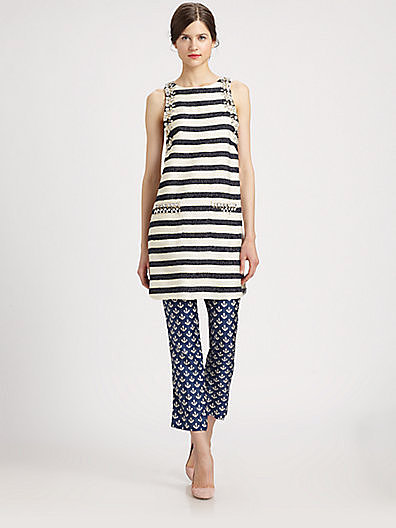 By Malene Birger Crystal-Embellished Striped Dress