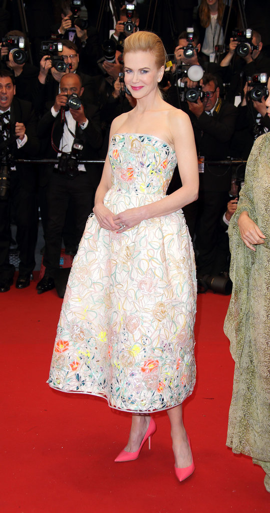 Nicole Kidman was a vision in a ladylike floral fit-and-flare Dior gown and hot-pink pumps in Cannes.