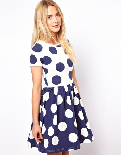 ASOS Skater Dress In Reverse Spot Print