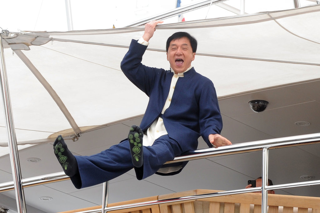 Jackie Chan joked around on a boat at the Cannes Film Festival on Thursday.