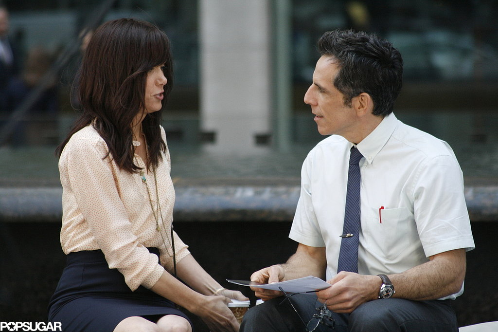 Kristen Wiig and Ben Stiller took a seat while filming in NYC.