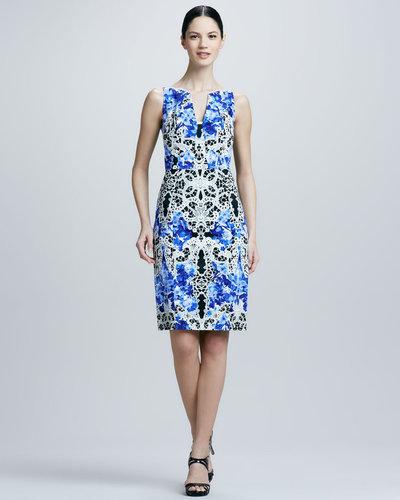 Elie Tahari Nessa Printed Sheath Dress, Lagoon