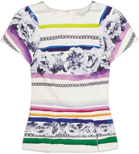 Camilla and Marc Printed cotton and silk-blend top