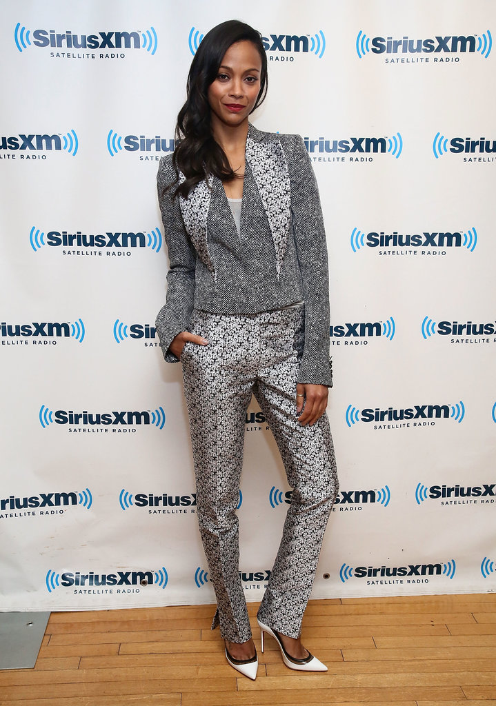 While stopping by the SiriusXM Studios in NYC, Zoe Saldana took a printed approach in floral trousers and a matching blazer both by Antonio Berardi. She then added on-trend white pointy pumps.