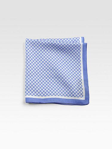 BOSS Black Check Pocket Square