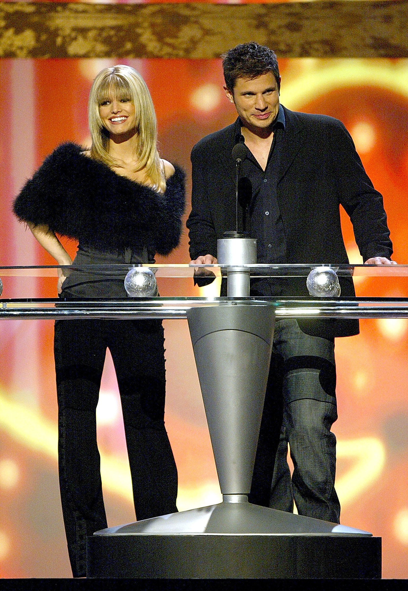 Jessica Simpson and Nick Lachey presented the digital track of the year award on stage during the 2003 fun in December.