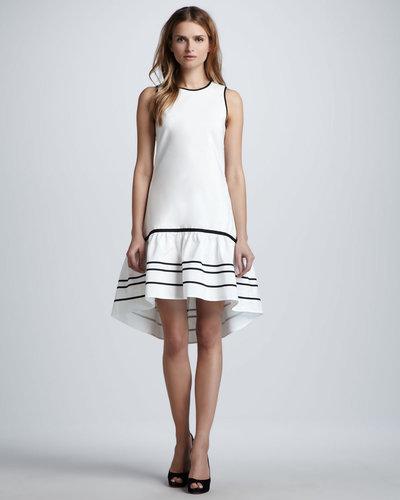 Nha Khanh Hi-Lo Ruffle-Hem Dress, Ivory/Black