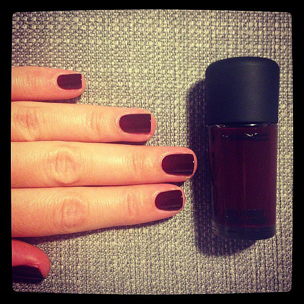 Dark nails are where it's at, says health and beauty editor Alison. This is Mac Cosmetics polish in Vintage Vamp. Perfect name, really.