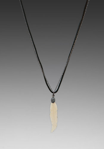 M.Cohen Chain Layer Necklace with Buffalo Horn and Feather Charm