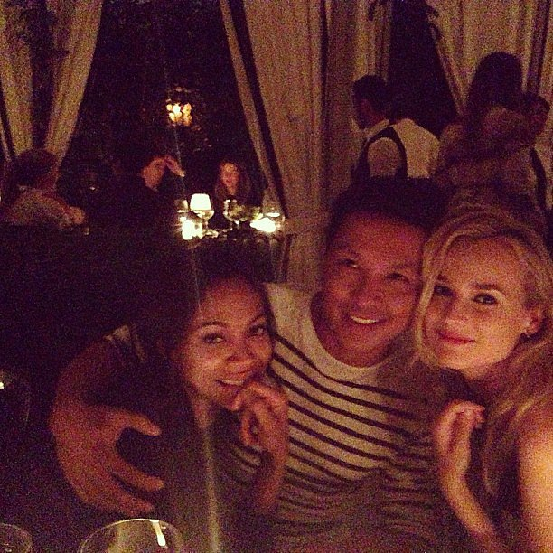 Zoe Saldana and Diane Kruger snuggled up to Prabal Gurung at a Vogue event honouring the designer. Source: Instagram user jaime_king