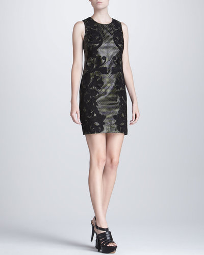 Versace Embroidered Leather Dress