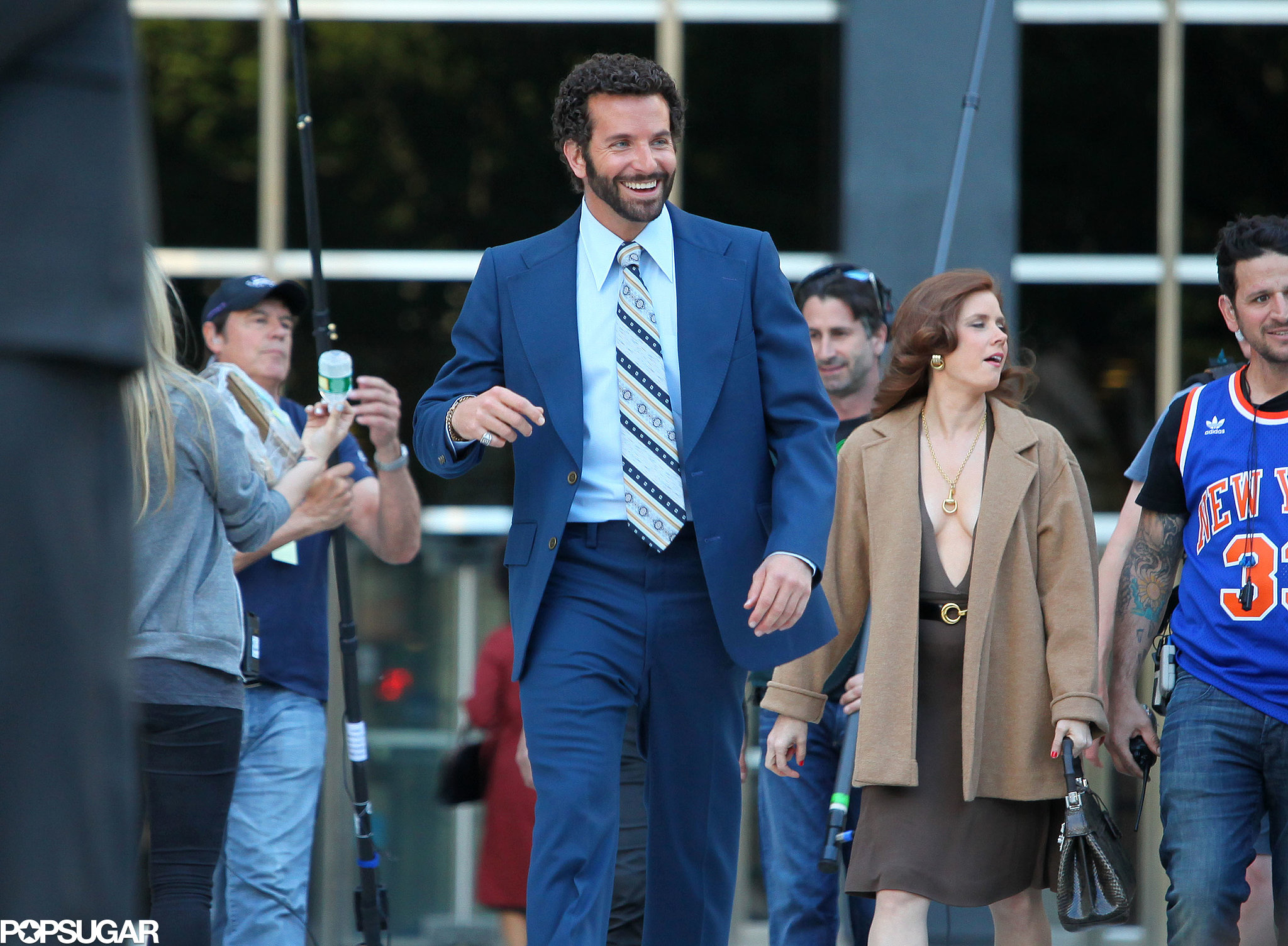 Amy Adams Gives Bradley Cooper Lots to Look at on Set