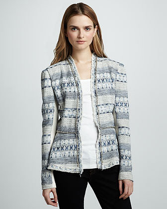 Rebecca Taylor Chain-Trim Tweed Jacket