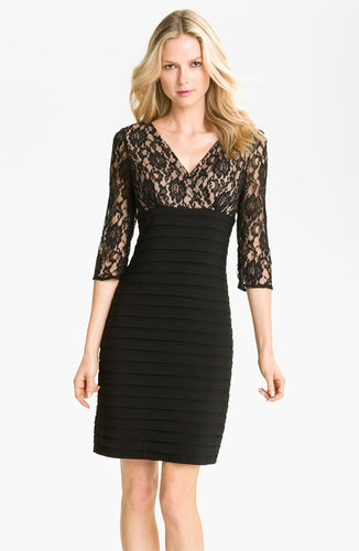 Adrianna Papell Lace Bodice Banded Sheath Dress
