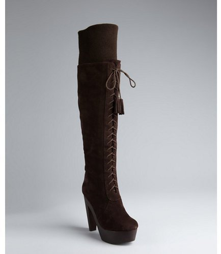 Madison Harding dark brown suede 'Murray' lace detail knit trim boots