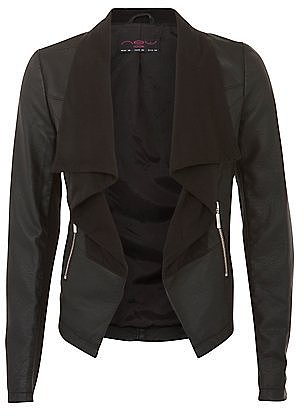Black Leather-Look Panel Waterfall Jacket