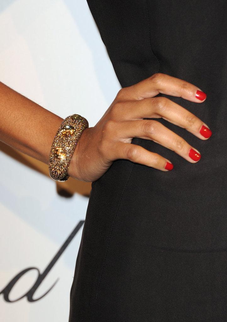 Zoe Saldana wore a jewel-encrusted bracelet.