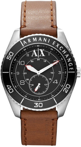 A|X Armani Exchange Watch, Men's Brown Leather Strap 45mm AX1261