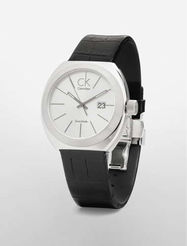 Ck Nation Black Leather Strap Watch