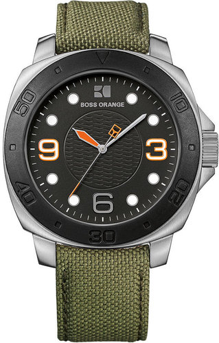 Hugo Boss Watch, Men's Green Khaki Fabric Strap 49mm 1512668