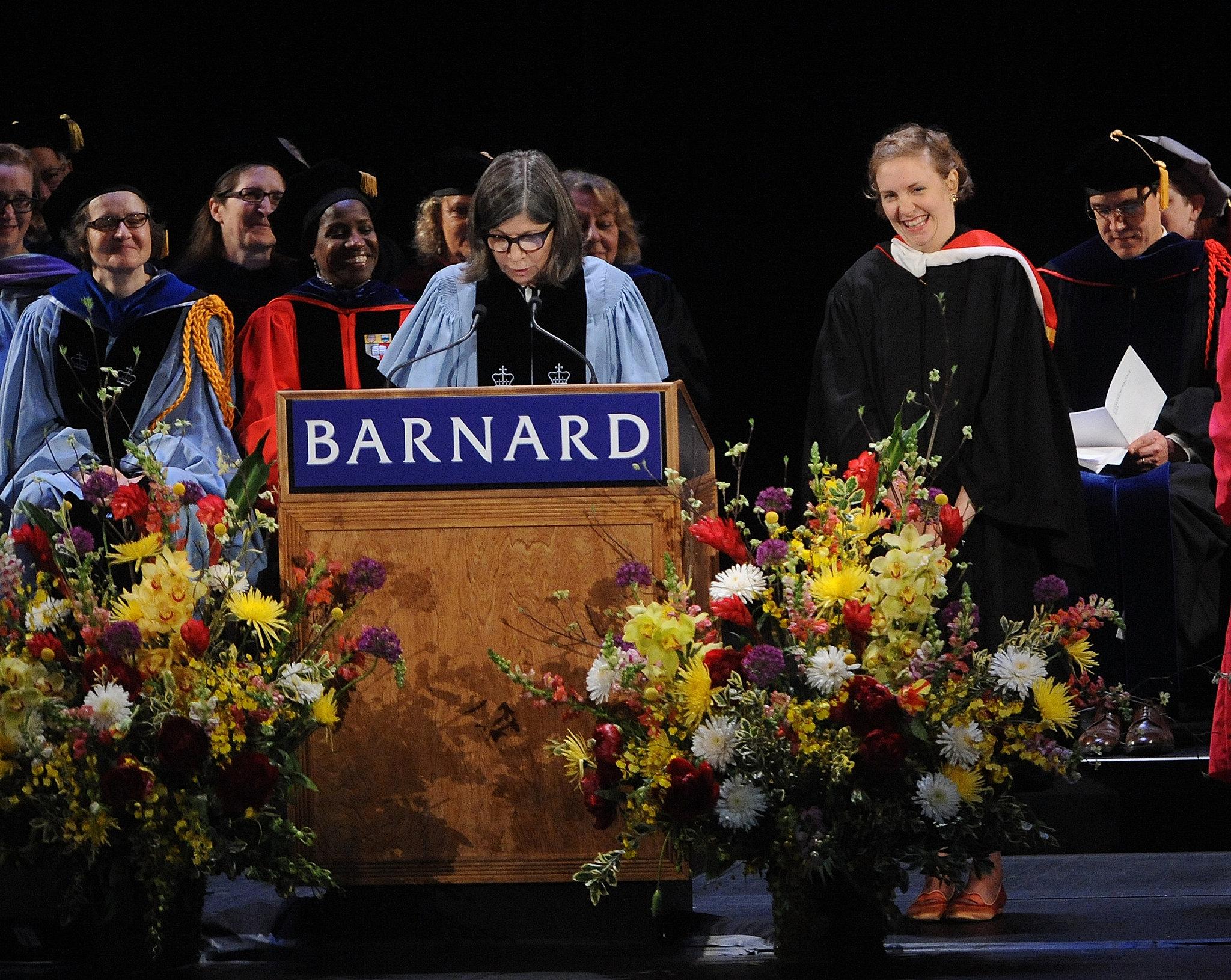 Lena Dunham received the Barnard Medal of Distinction on Sunday.