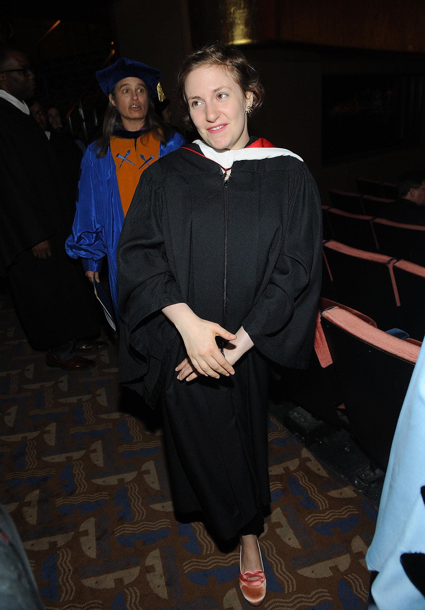 Lena Dunham attended the 2013 Barnard College commencement.