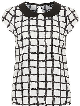 White check peter pan collar top