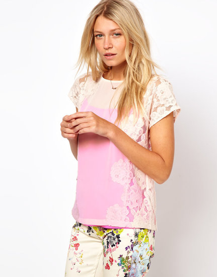 Ted Baker Lace Detail Top with Bright Lining Detail